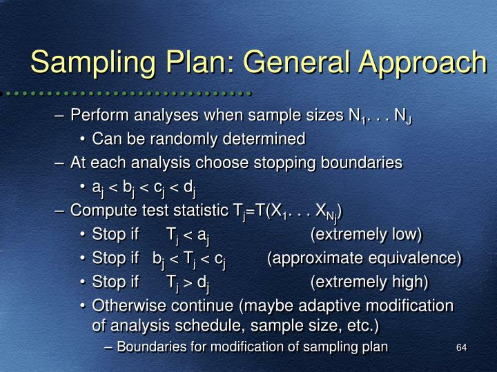 Sampling Plan: General Approach