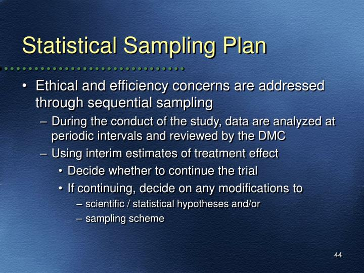 Statistical Sampling Plan