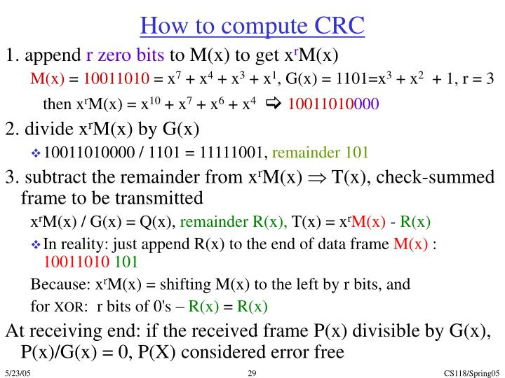How to compute CRC