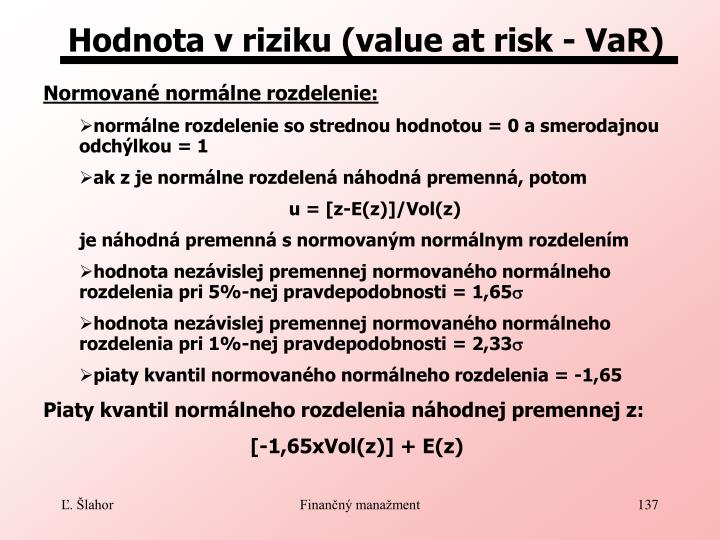 Hodnota v riziku (value at risk - VaR)