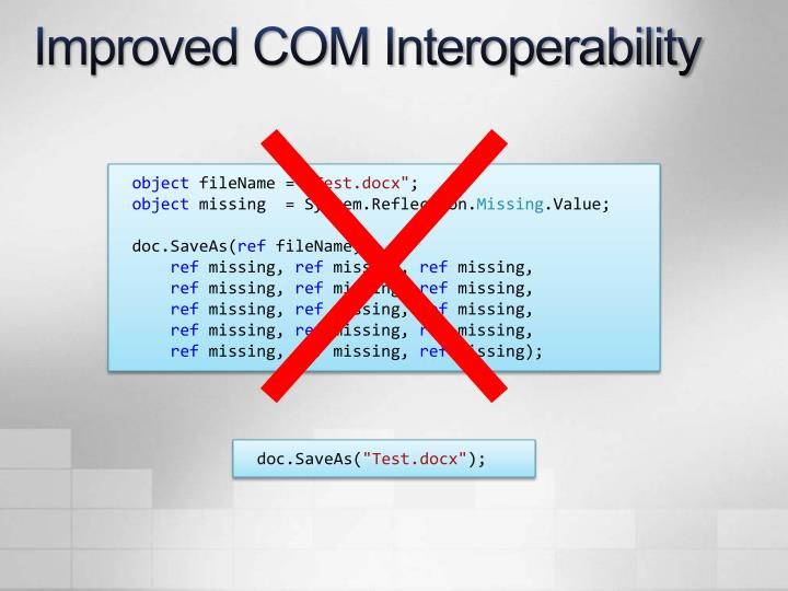 Improved COM Interoperability