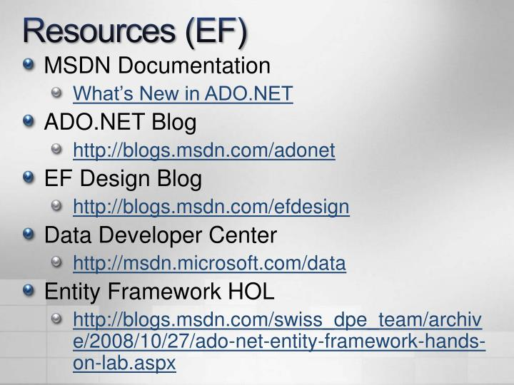Resources (EF)