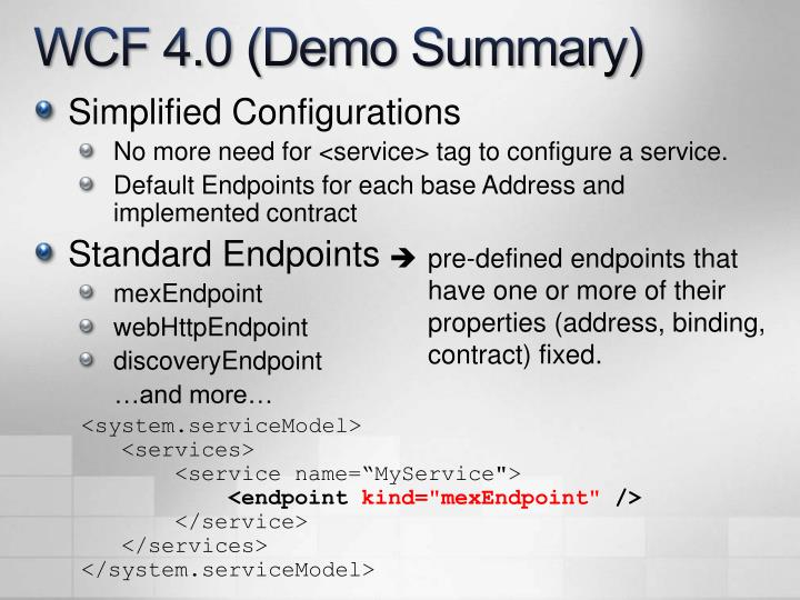 WCF 4.0 (Demo Summary)