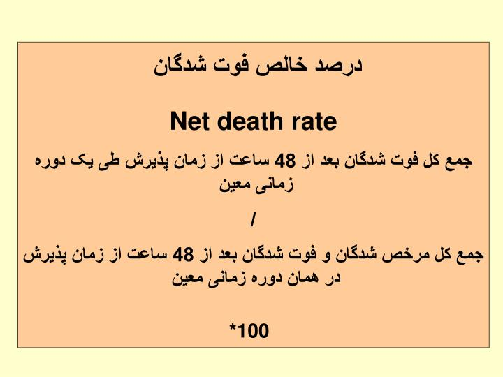 درصد خالص فوت شدگان