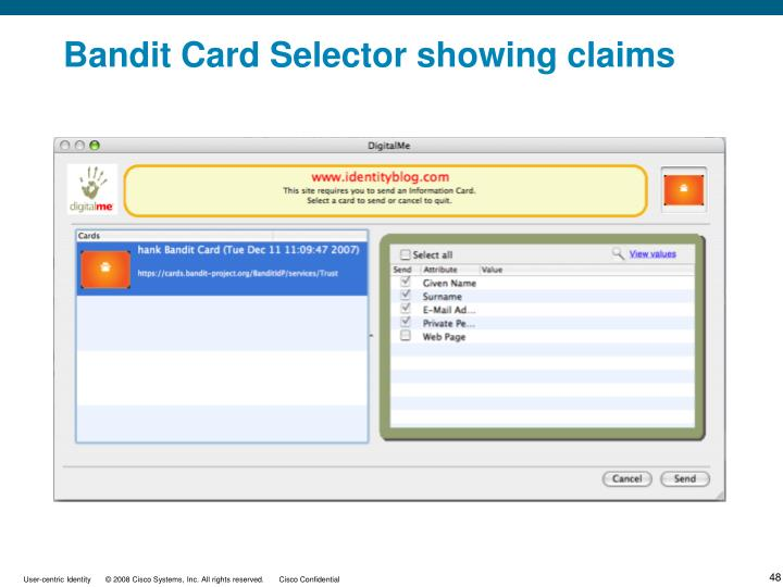 Bandit Card Selector showing claims