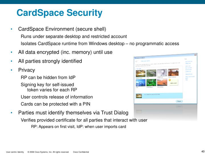 CardSpace Environment (secure shell)
