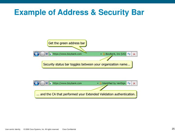 Example of Address & Security Bar