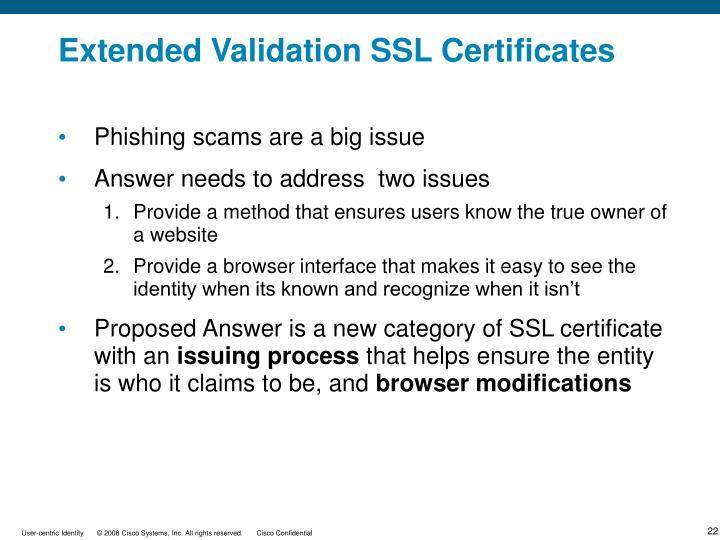 Extended Validation SSL Certificates
