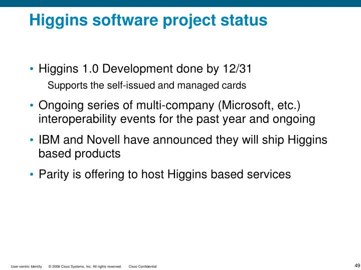 Higgins 1.0 Development done by 12/31