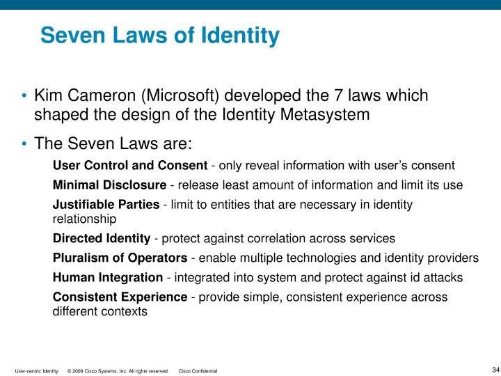 Seven Laws of Identity
