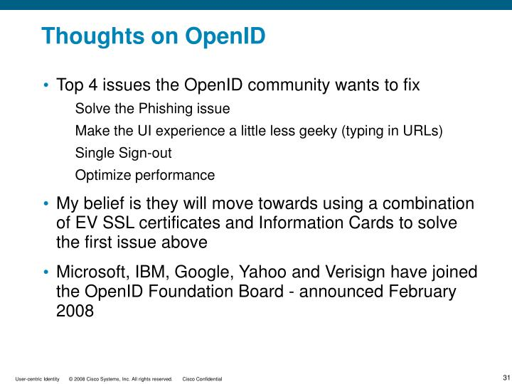 Thoughts on OpenID