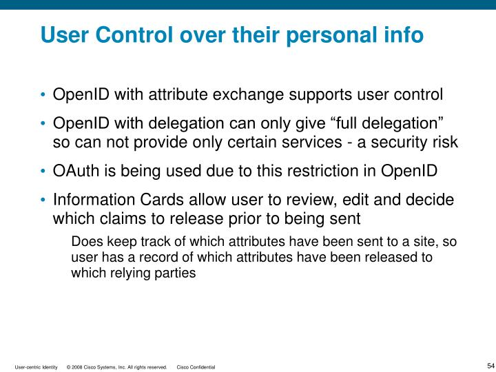 User Control over their personal info
