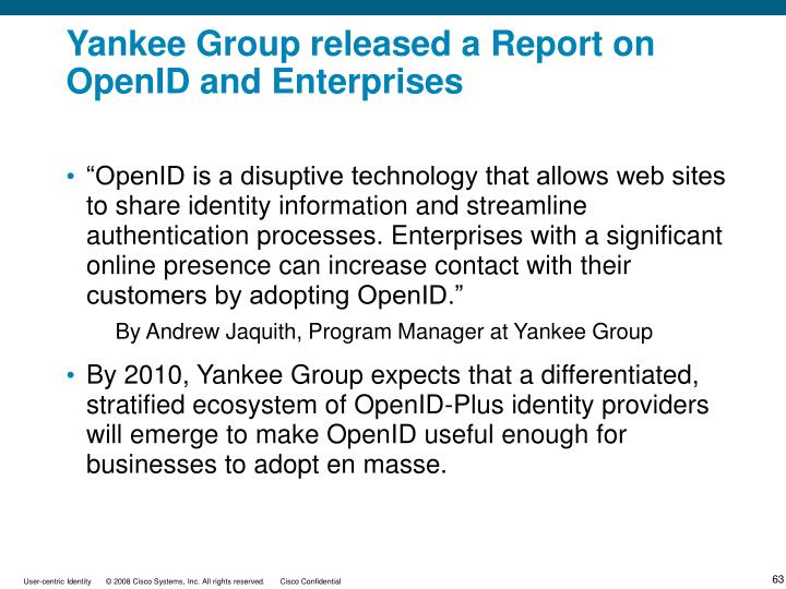 Yankee Group released a Report on OpenID and Enterprises