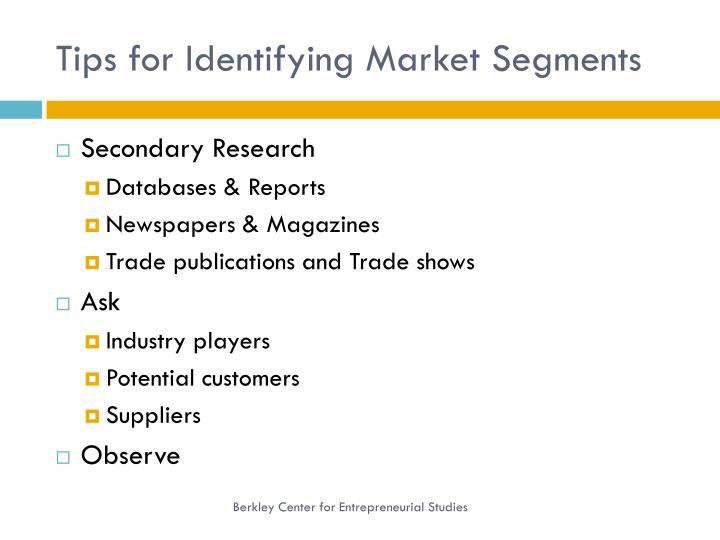 Tips for Identifying Market Segments