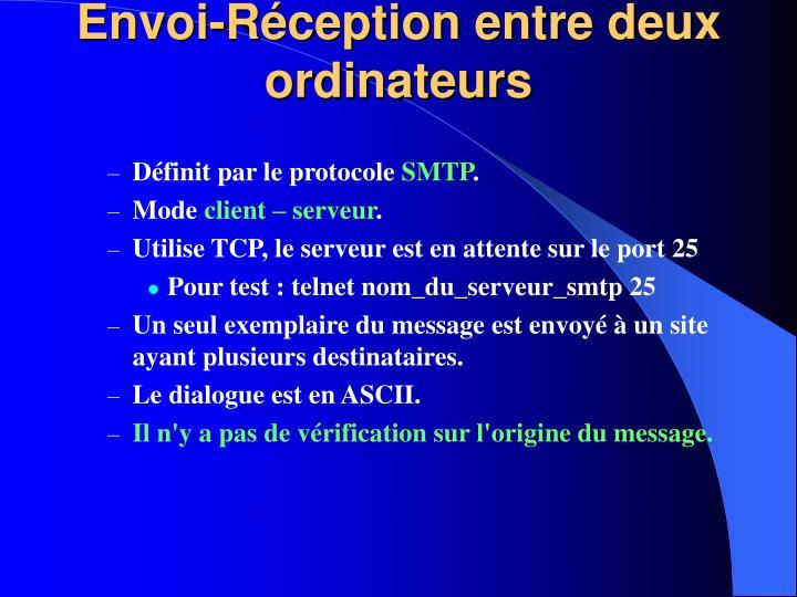 Envoi-Réception entre deux ordinateurs