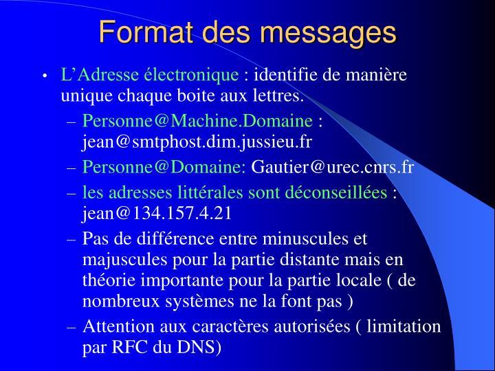 Format des messages