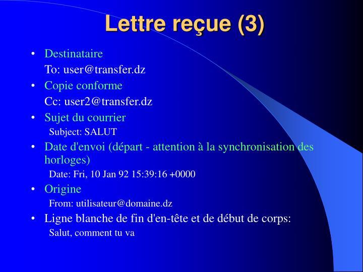 Lettre reçue (3)