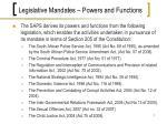 legislative mandates powers and functions