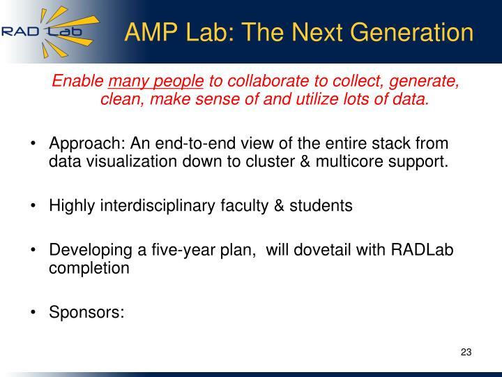 AMP Lab: The Next Generation