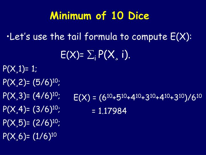 Minimum of 10 Dice