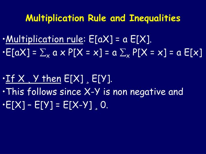 Multiplication Rule and Inequalities