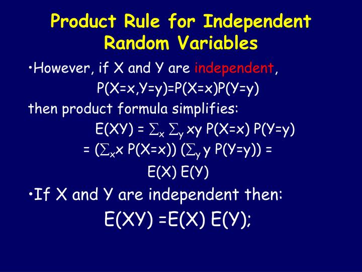 Product Rule for Independent Random Variables