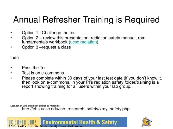 Annual refresher training is required