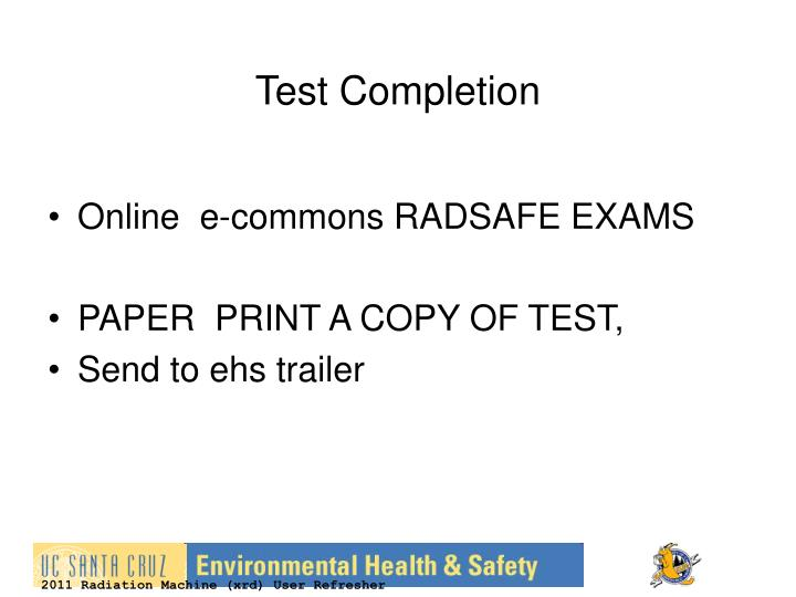 Test Completion