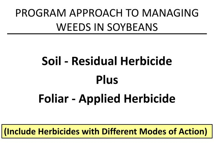 Program approach to managing weeds in soybeans