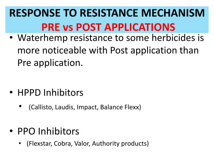 RESPONSE TO RESISTANCE MECHANISM