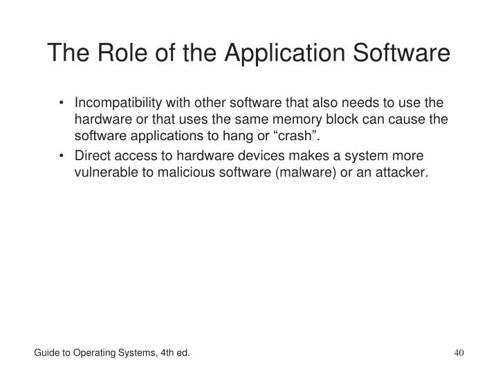 The Role of the Application Software