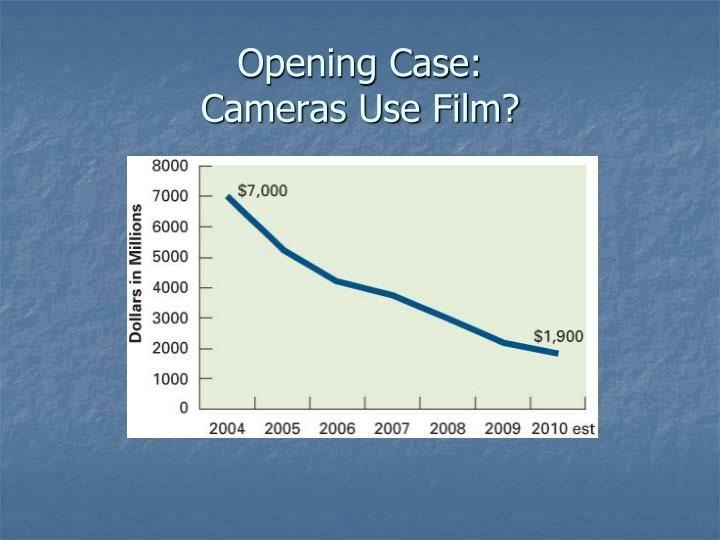 Opening case cameras use film
