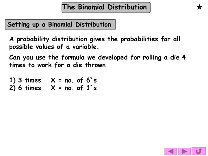 Setting up a Binomial Distribution