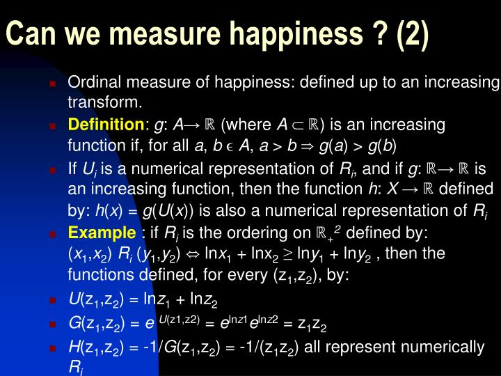 Can we measure happiness ? (2)
