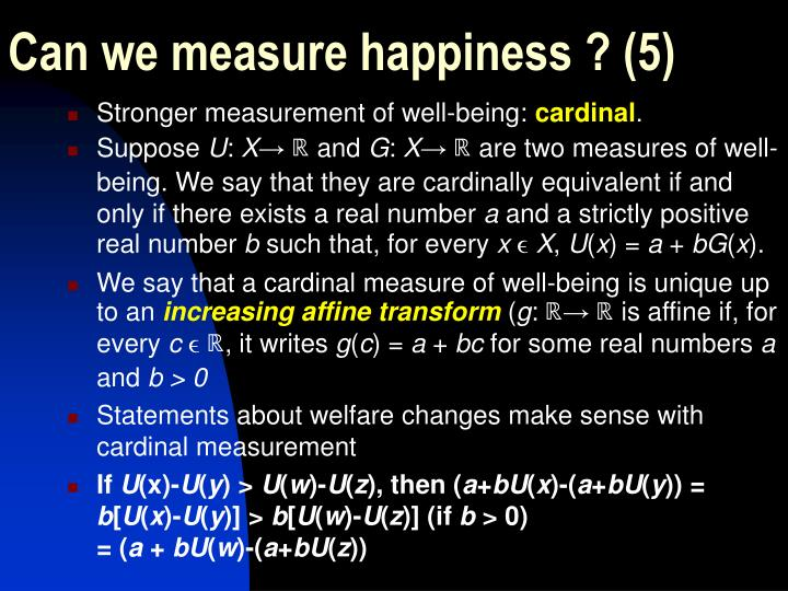 Can we measure happiness ? (5)