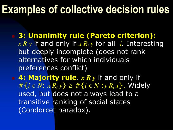 Examples of collective decision rules
