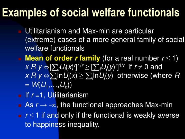 Examples of social welfare functionals