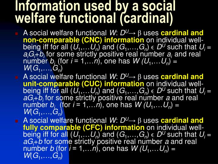 Information used by a social welfare functional (cardinal)