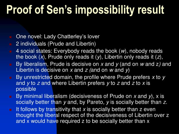 Proof of Sen's impossibility result