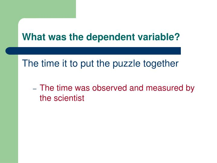What was the dependent variable?