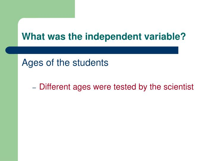What was the independent variable?