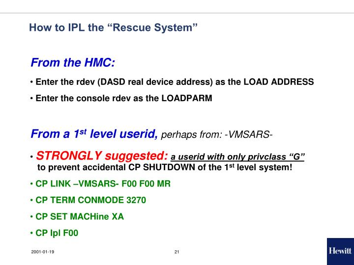 """How to IPL the """"Rescue System"""""""