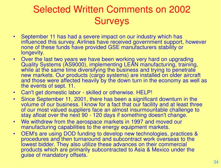 Selected Written Comments on 2002 Surveys
