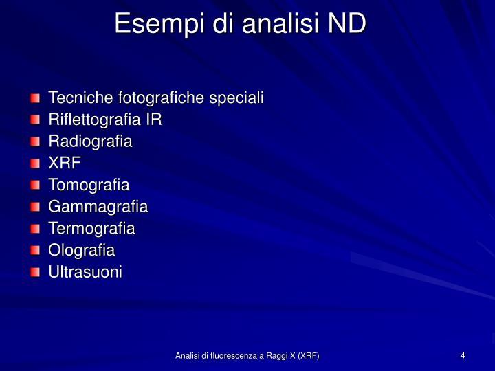 Esempi di analisi ND