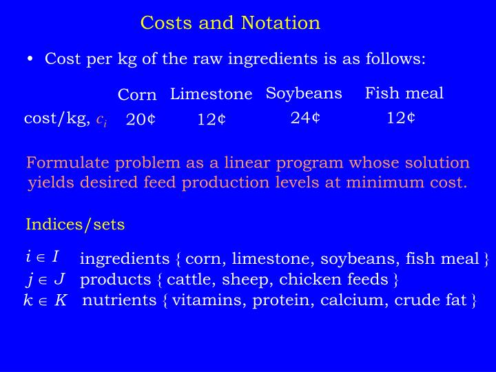 Costs and Notation