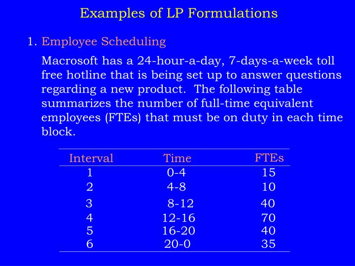 Examples of LP Formulations