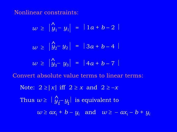 Nonlinear constraints: