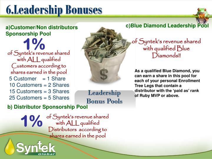 6.Leadership Bonuses