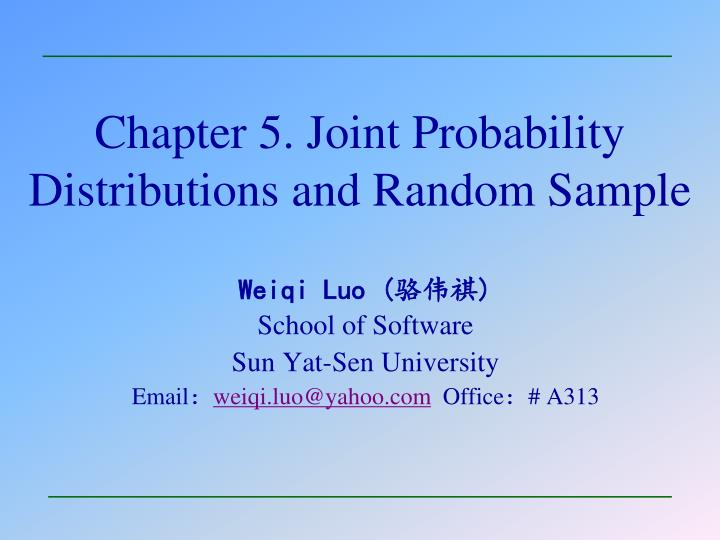 chapter 5 joint probability distributions and random sample n.