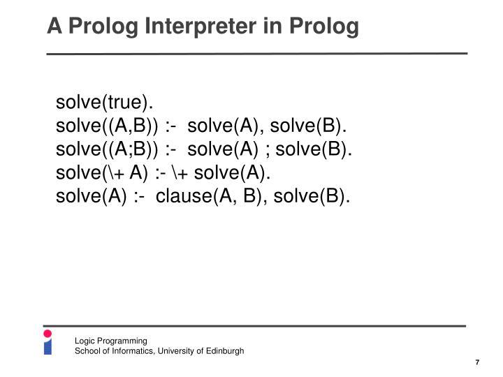 A Prolog Interpreter in Prolog